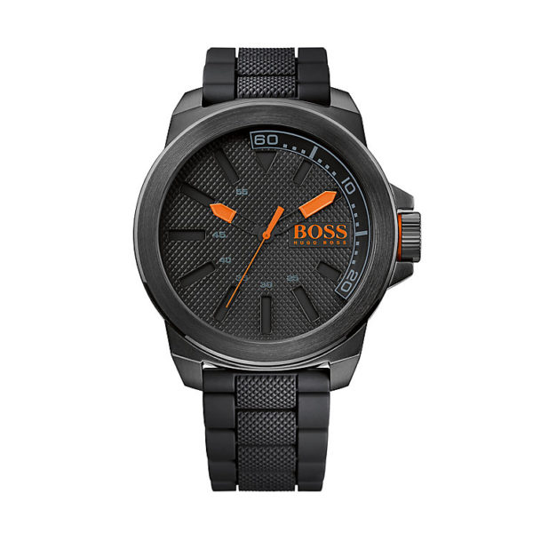Orange Men's Black & Orange Quartz-0