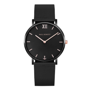 Sailor Line Watch Black Rose Gold Mesh-0